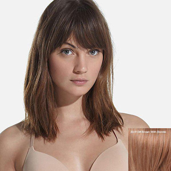 Fascinating Women's  Medium Straight Inclined Bang Human Hair Wig - BROWN/BLONDE