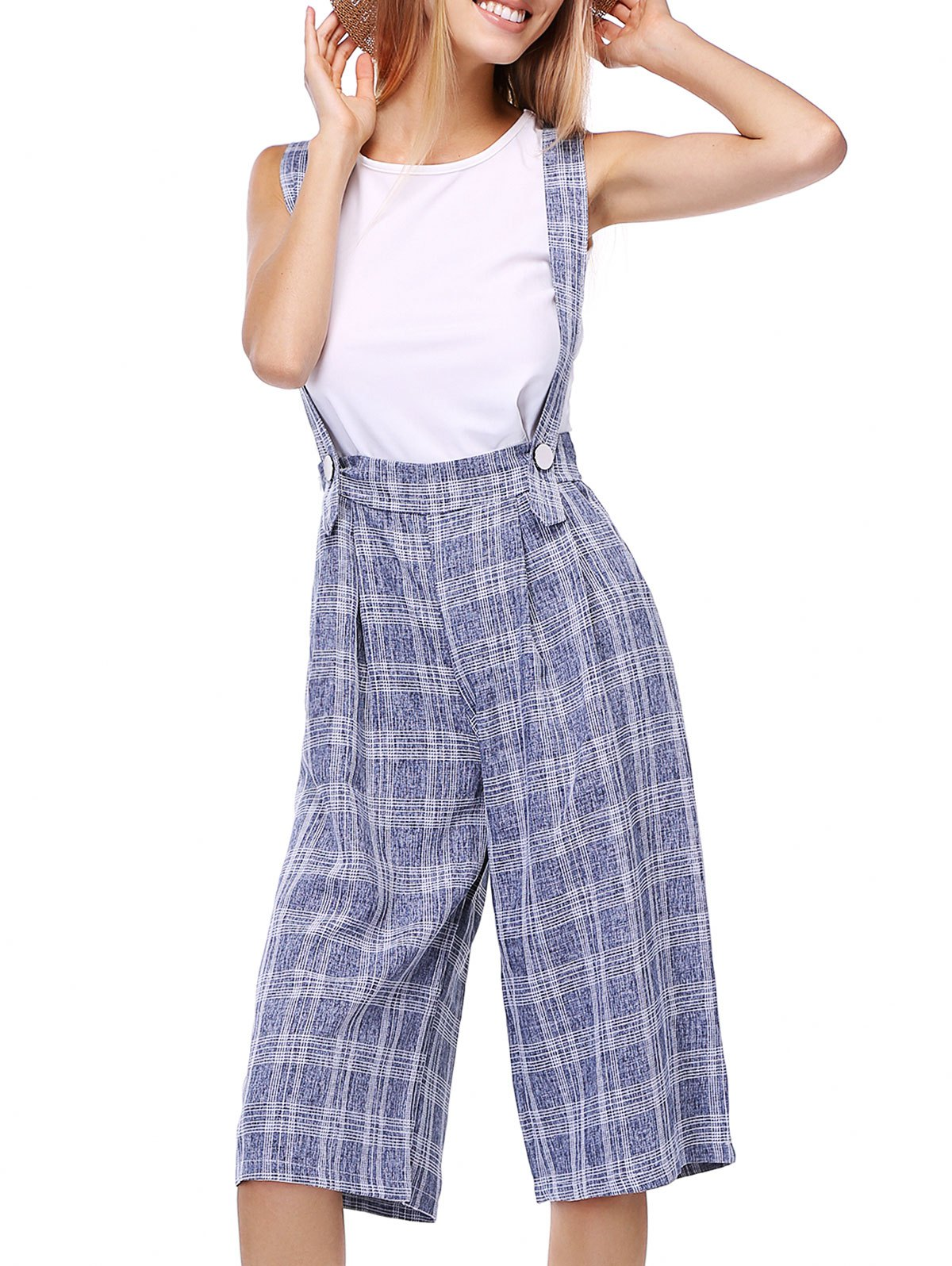 Stylish Women's Plaid Suspender Cropped Pants - GRAY L