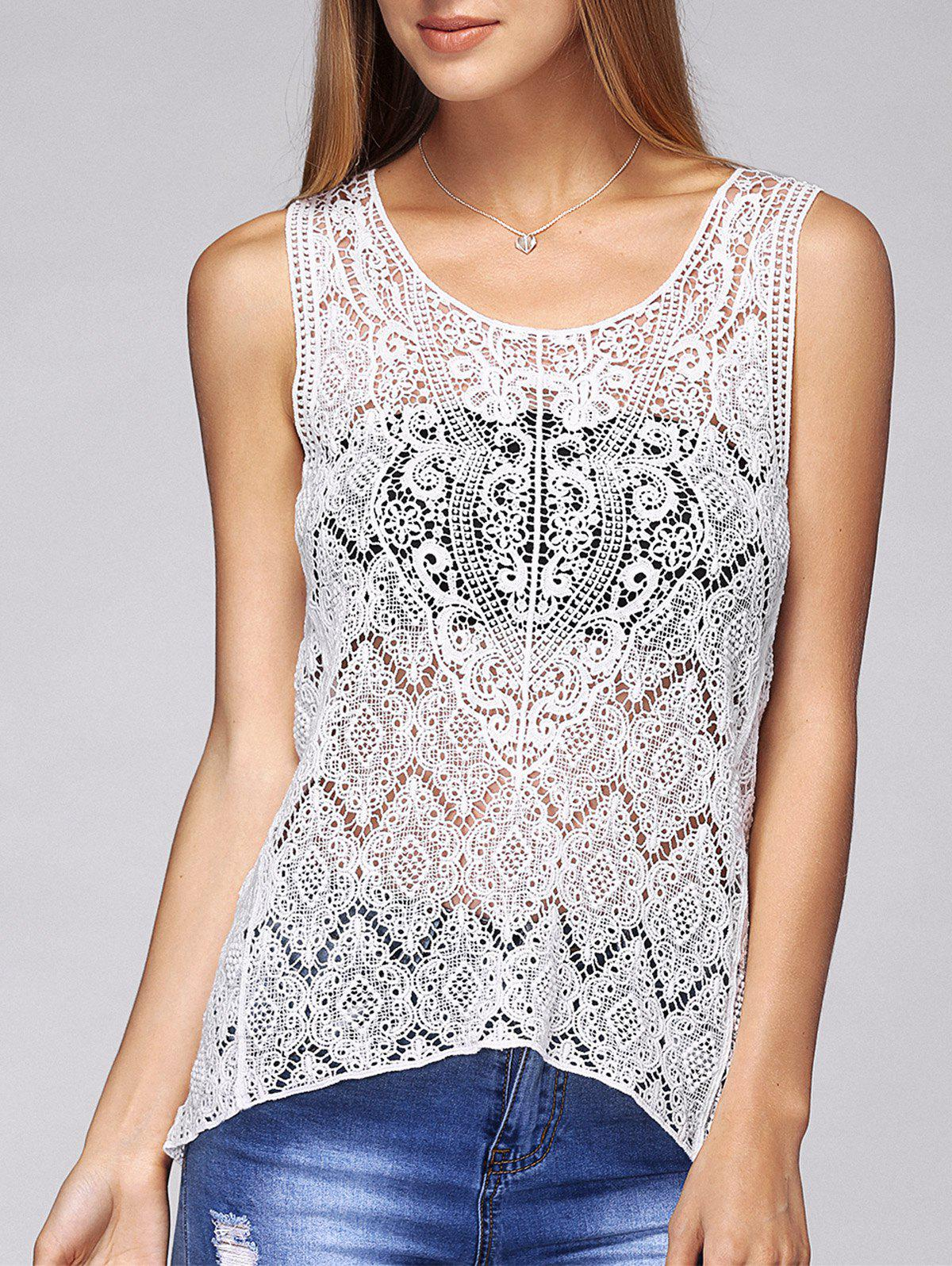 Guipure Openwork Asymmetrical Tank Top - WHITE ONE SIZE(FIT SIZE XS TO M)