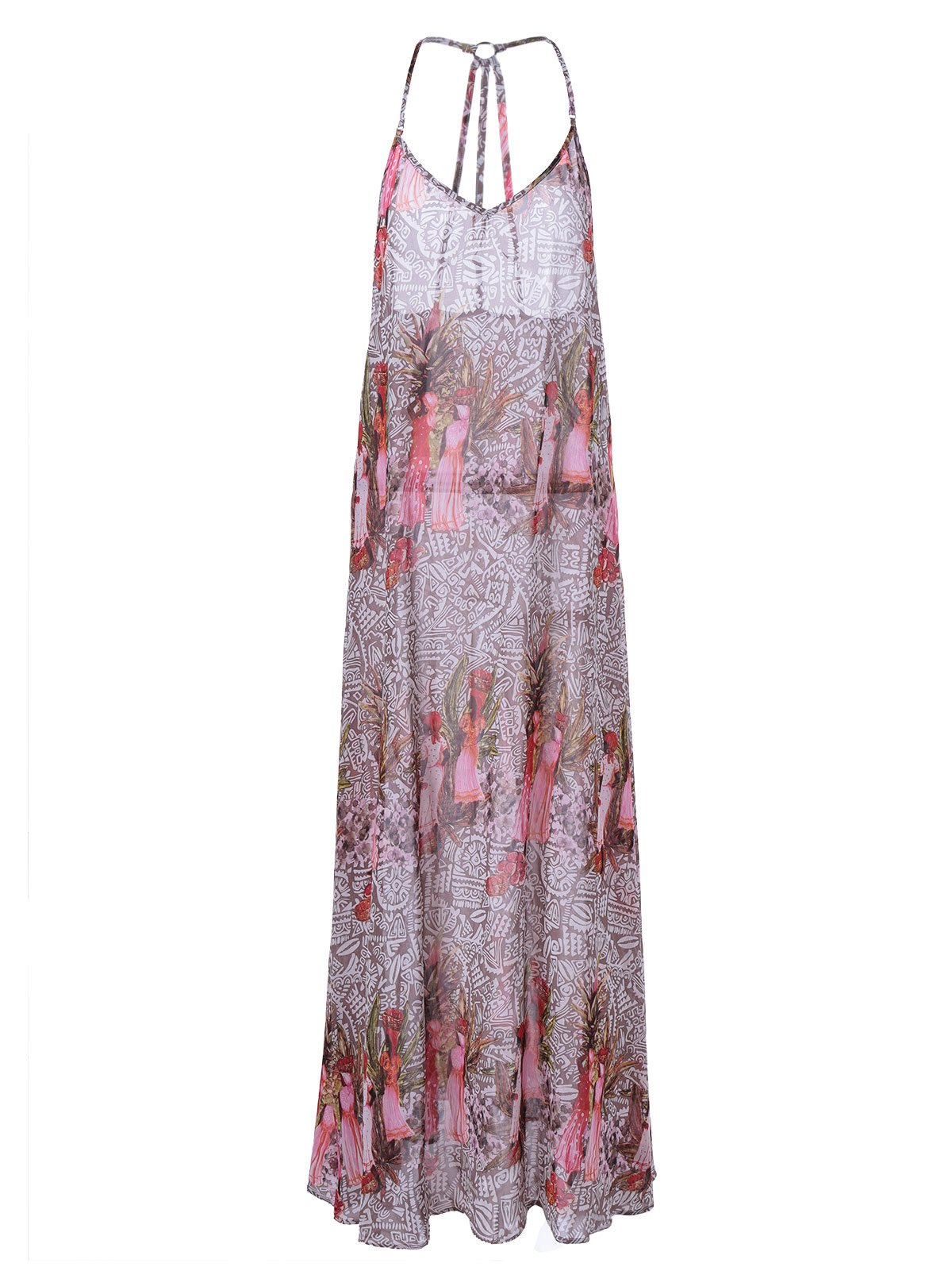 Fashionable Bohemian Pringting Spaghetti Strap Dress For Women - COLORMIX XL