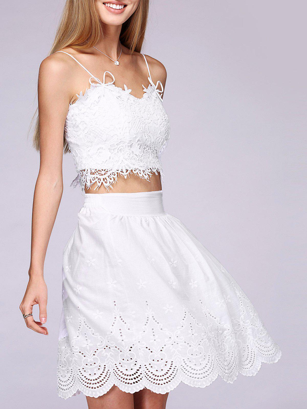 Bowknot Lace Crop Top and Laciness High Waist Skirt Twinset - WHITE ONE SIZE(FIT SIZE XS TO M)