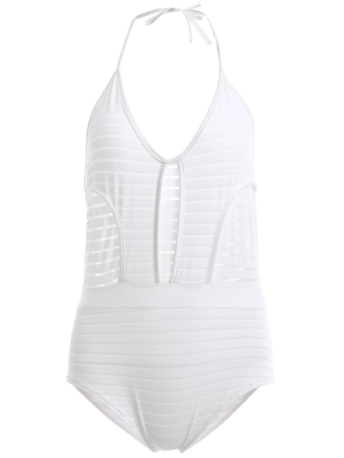 Attractive Women's Halter Backless Openwork One-Piece Swimsuit - WHITE S