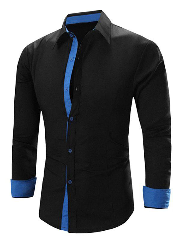 Men's Solid Color Turn-Down Collar Long Sleeve Shirt - BLACK/BLUE L