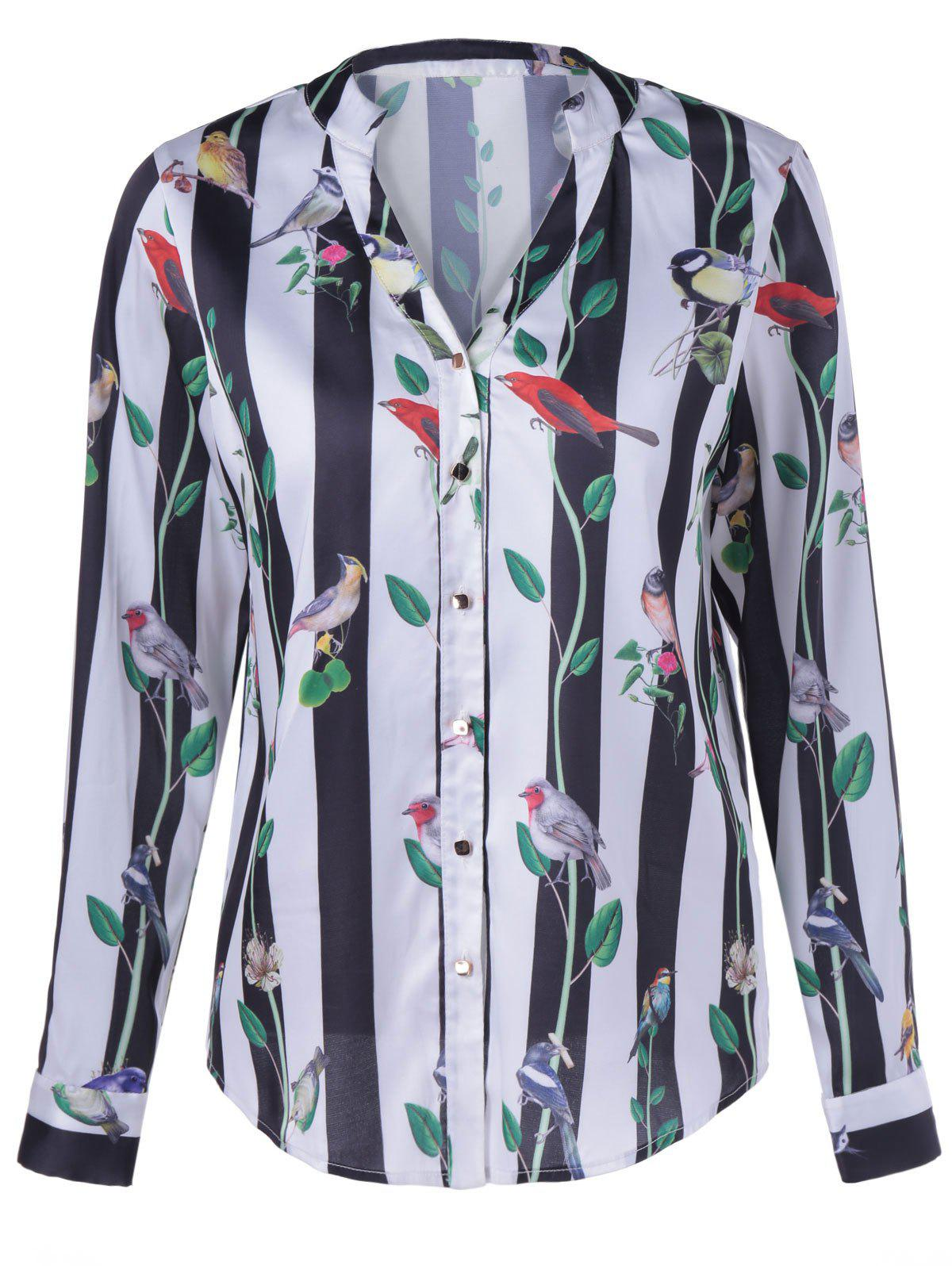 Fashionable Birdie Stripe Design Pringting Long Sleeves Blouse For Women - STRIPE S
