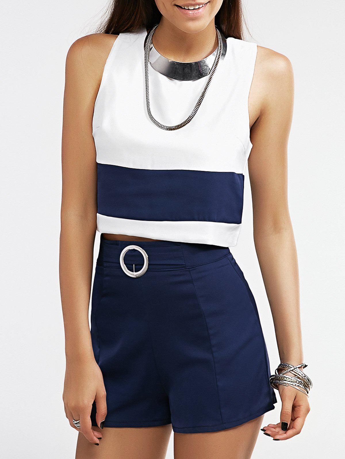 Casual Color Block Tank Top and Shorts Women's Twinset