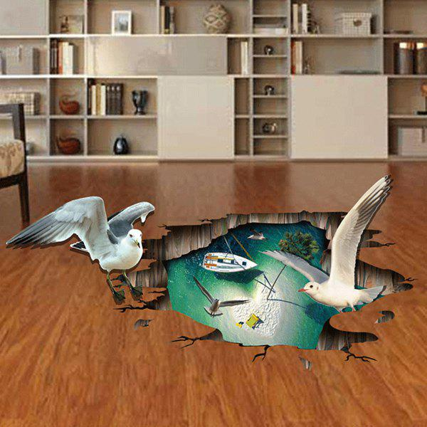Active Removable Beach Boat Seagull 3D Wall Art Sticker high quality removable beach boat seagull 3d wall art sticker