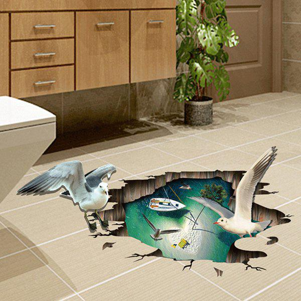 2018 active removable beach boat seagull 3d wall art sticker colormix in wall stickers online. Black Bedroom Furniture Sets. Home Design Ideas