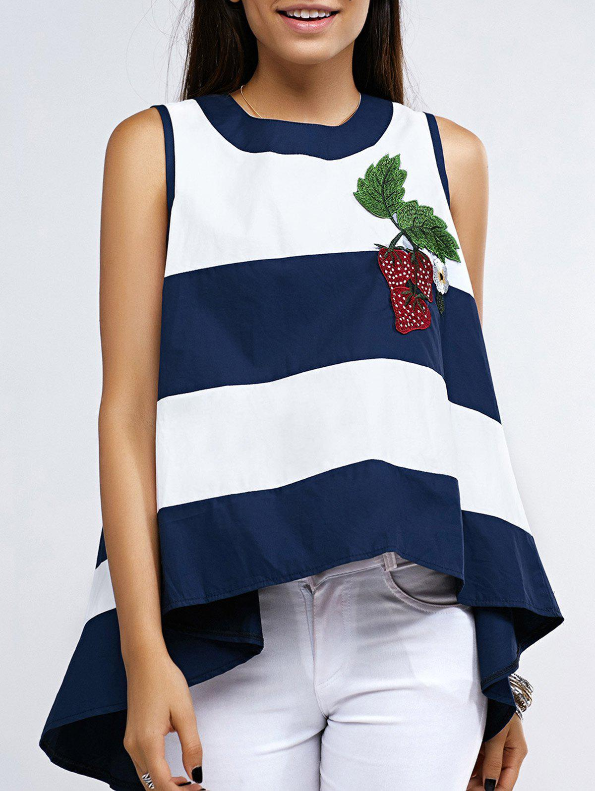 Striped Strawberry Embroidery High-Low Lady's Top