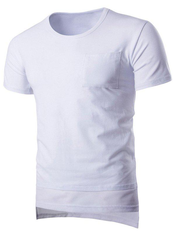Mesh Splicing Design Round Neck Pocket Short Sleeve Men's T-Shirt - WHITE M