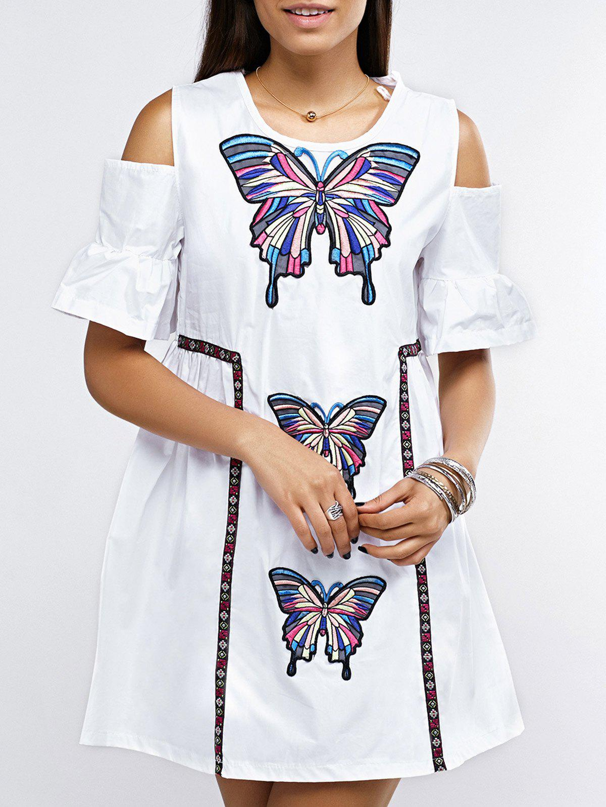 Open Shoulder Bell Sleeve Butterfly Embroidered Dress - ONE SIZE(FIT SIZE XS TO M) WHITE
