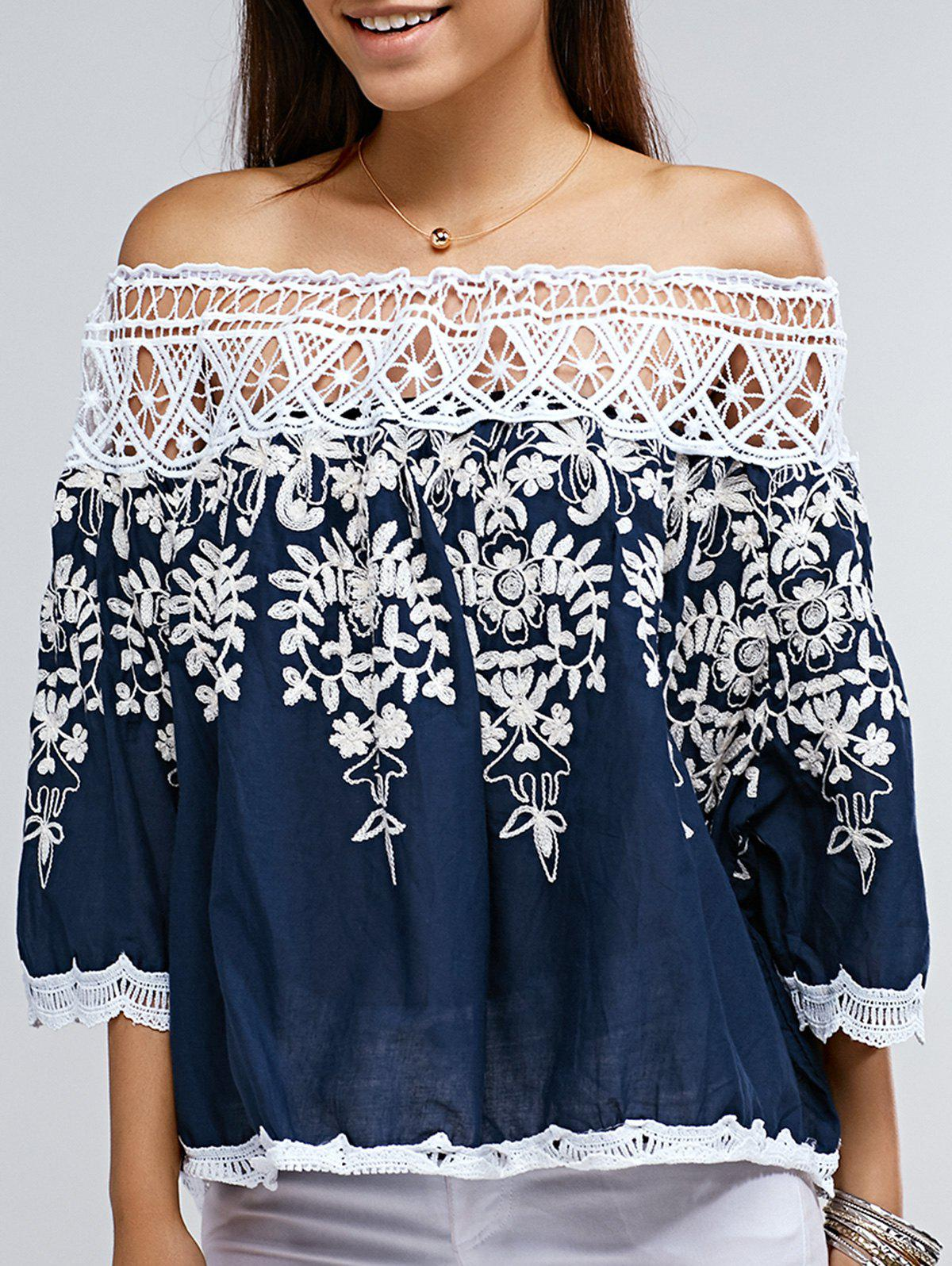 Trendy Off The Shoulder Floral Print Lace Spliced Blouse - PURPLISH BLUE ONE SIZE(FIT SIZE XS TO M)