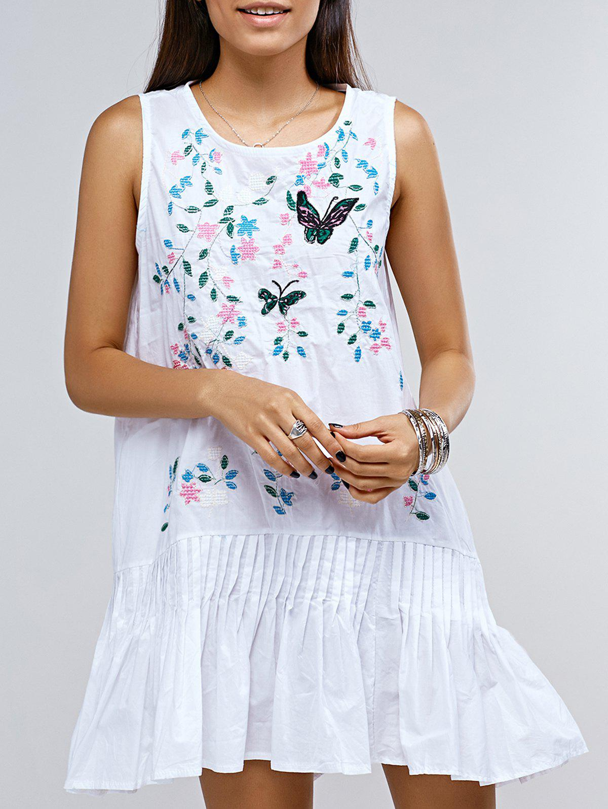 Sleeveless Frilly Butterfly Embroidery Tent Dress - WHITE ONE SIZE(FIT SIZE XS TO M)