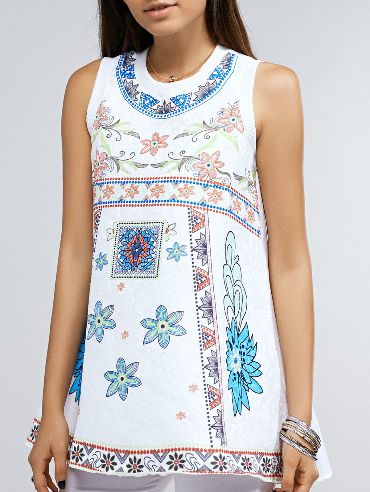 Stylish Round Neck Loose Fitting Floral Print Tank Top For Women