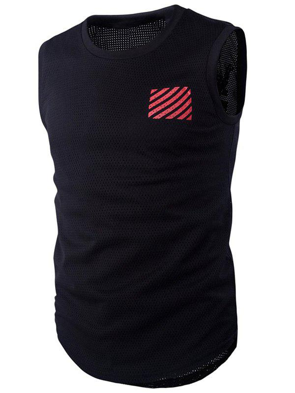 Letter and Stripe Printed Round Neck Mesh Men's Sleeveless T-Shirt