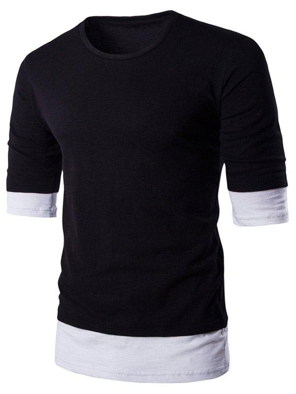 Color Block Splicing Design Round Neck Men's T-Shirt - BLACK L