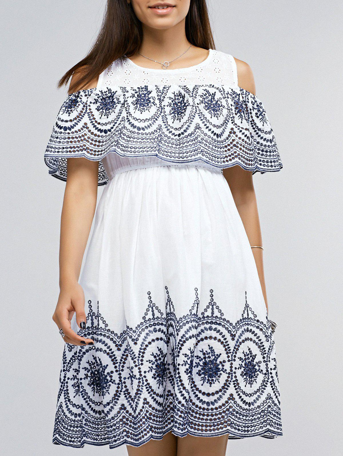 Ethnic Jewel Neck Cold Shoulder Embroidered Dress For Women - WHITE ONE SIZE(FIT SIZE XS TO M)