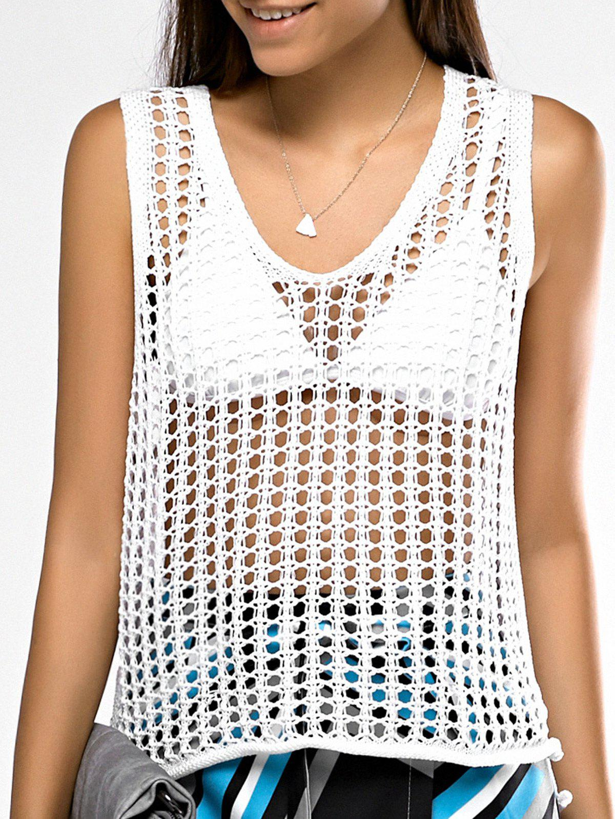 Attractive Scoop Neck Hollow Out Crochet Tank Top For Women - WHITE ONE SIZE(FIT SIZE XS TO M)