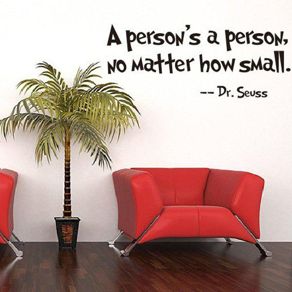 Simple Removable Dr.Seuss Proverbs Wall Art Sticker - BLACK