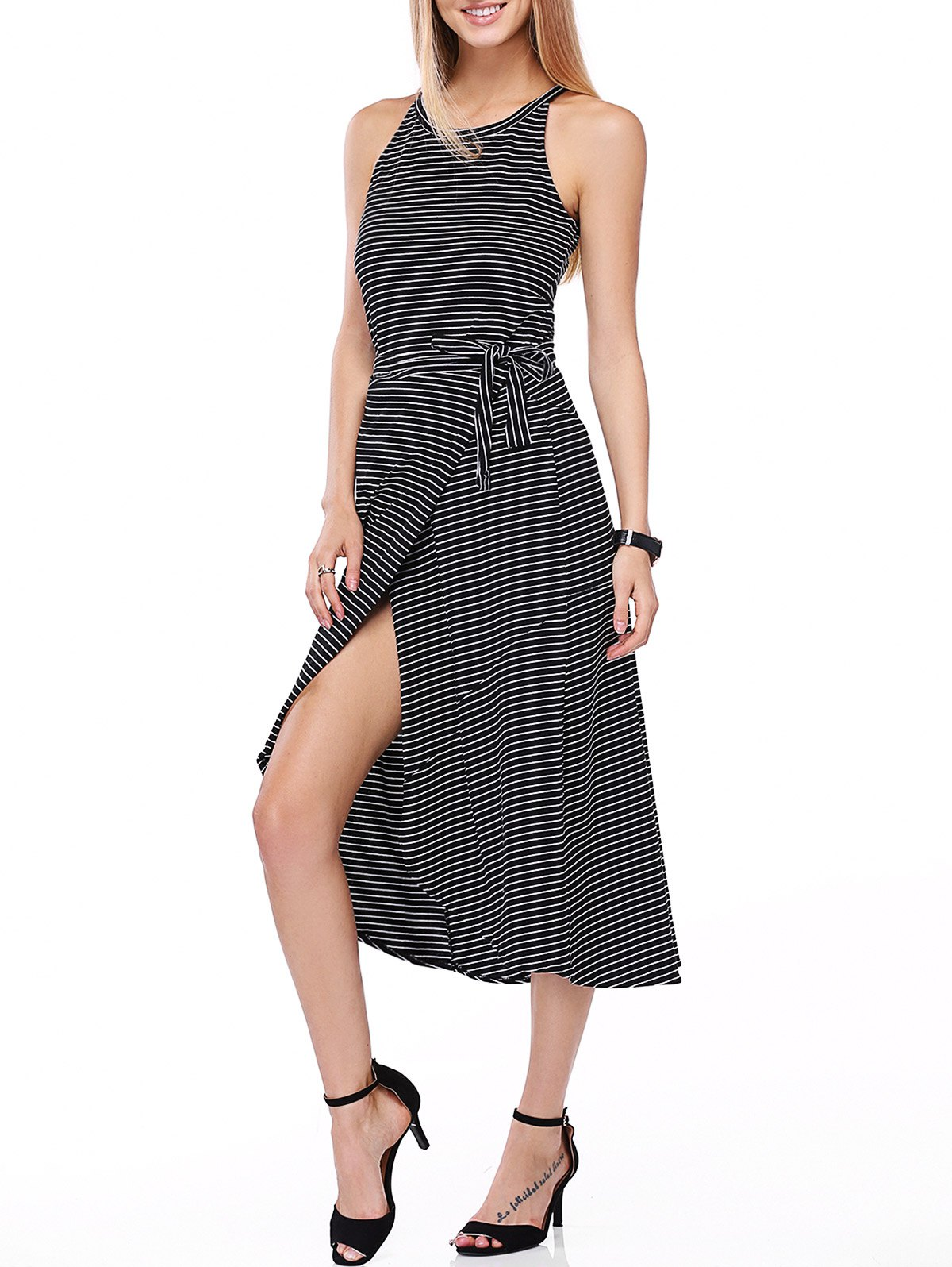 Casual Striped Tank Top + Tie Side High Low Skirt Twinset For Women цена 2017