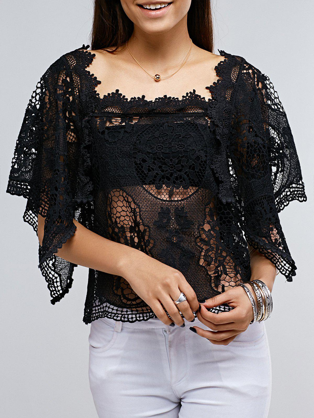 Lace Crochet See Though Frilly Cover Top