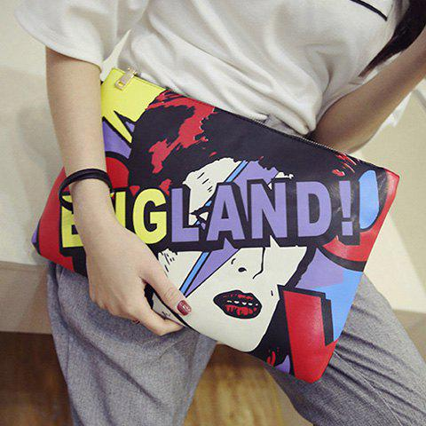 Leisure Print and Zip Design Women's Clutch Bag
