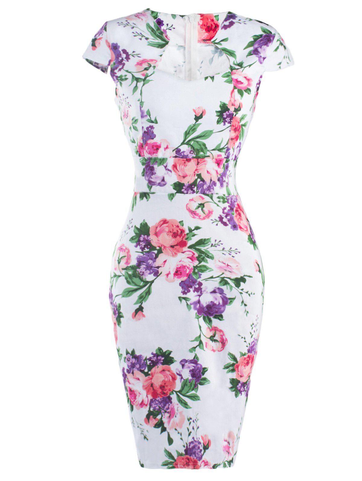 Floral Cheongsam Midi Bodycon Dress cheongsam floral pattern bodycon dress