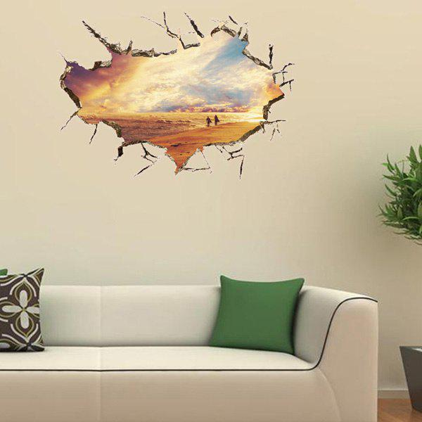 Active Removable 3D Sunset Glow Beach Wall Art Sticker - COLORMIX