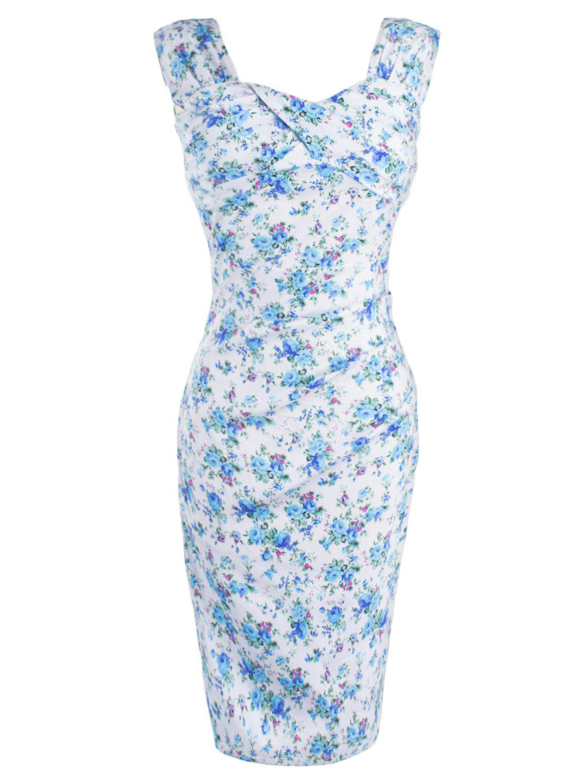 Retro Style Tiny Floral Print Bodycon Dress - LIGHT BLUE XL