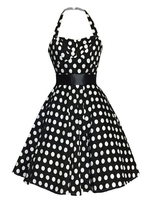 Retro Polka Dot Print Halter Fit and Flare Dress For Women