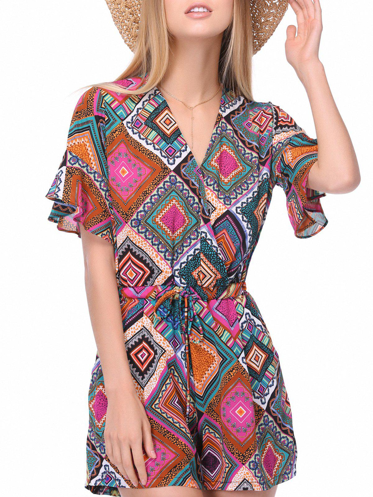 Ethnic Women's V-Neck Print Drawstring Romper - ONE SIZE(FIT SIZE XS TO M) COLORMIX
