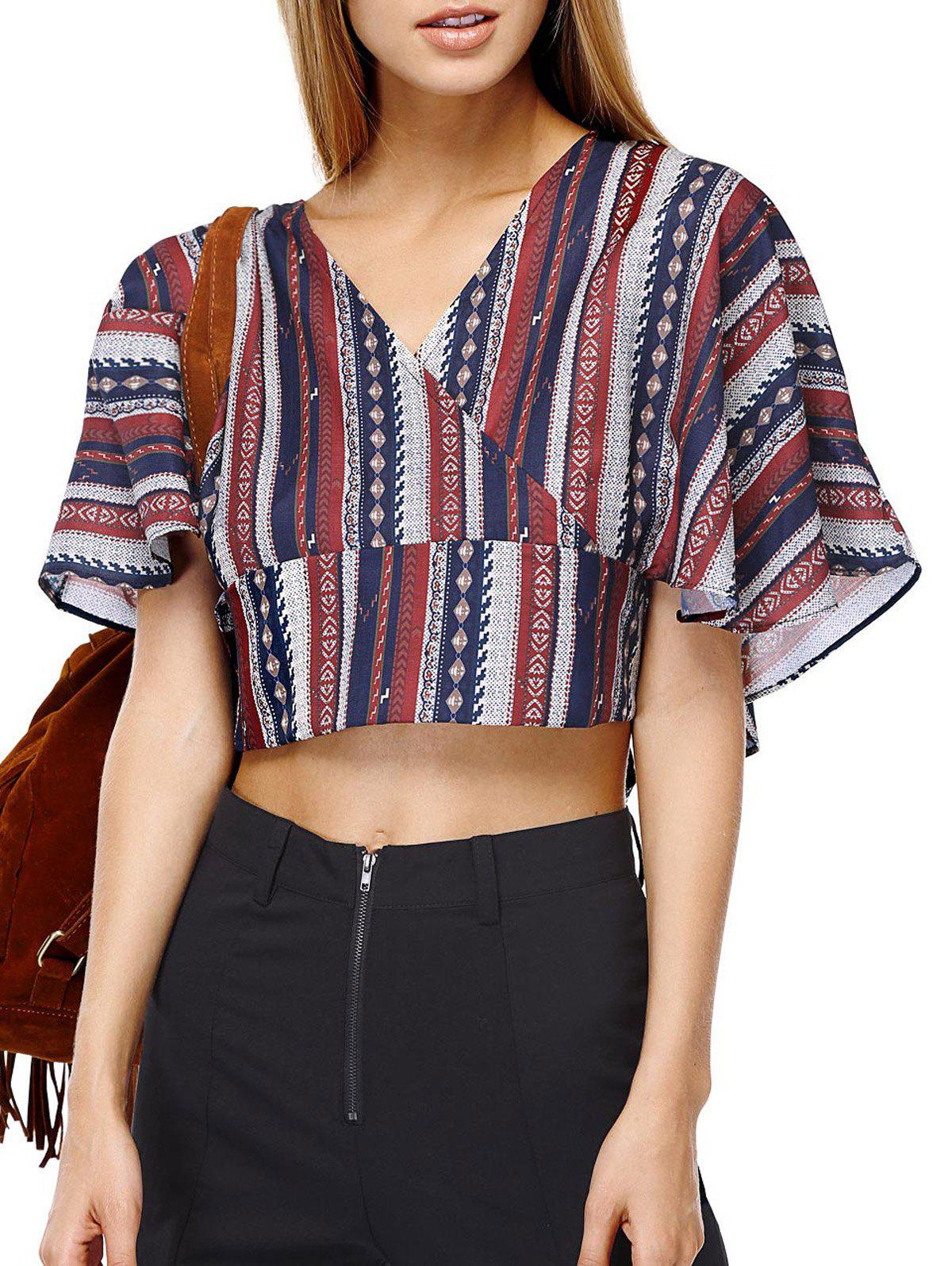 Ethnic Style Striped Batwing Sleeves Backless Tie Back Tee For Women - COLORMIX ONE SIZE(FIT SIZE XS TO M)