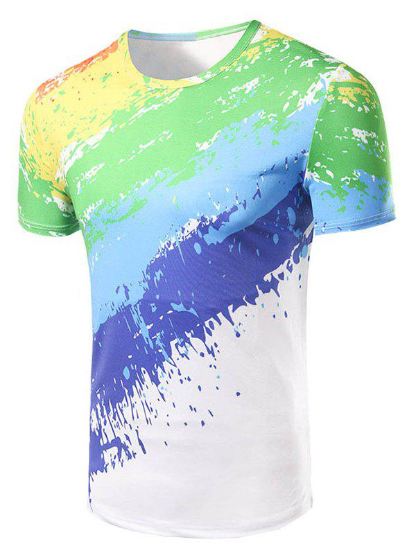 Mens Fashion Round Collar Painting T-ShirtMen<br><br><br>Size: M<br>Color: COLORFUL