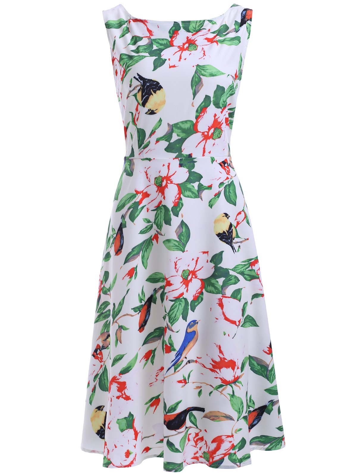 Round Neck Floral Print Sleeveless Dress For Women