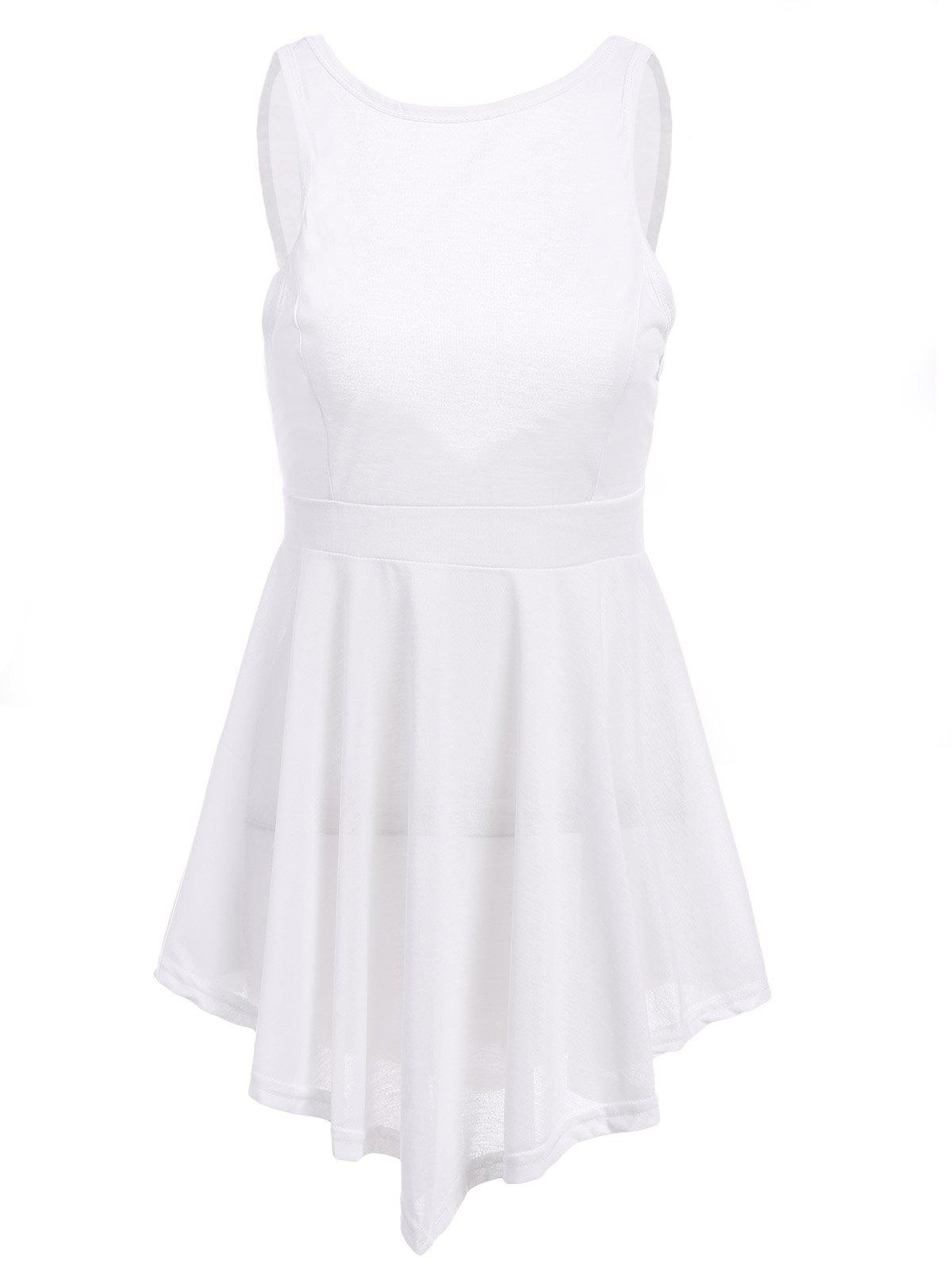 Fashionable Sleeveless Round Collar Solid Color Backless Women's Dress - WHITE L