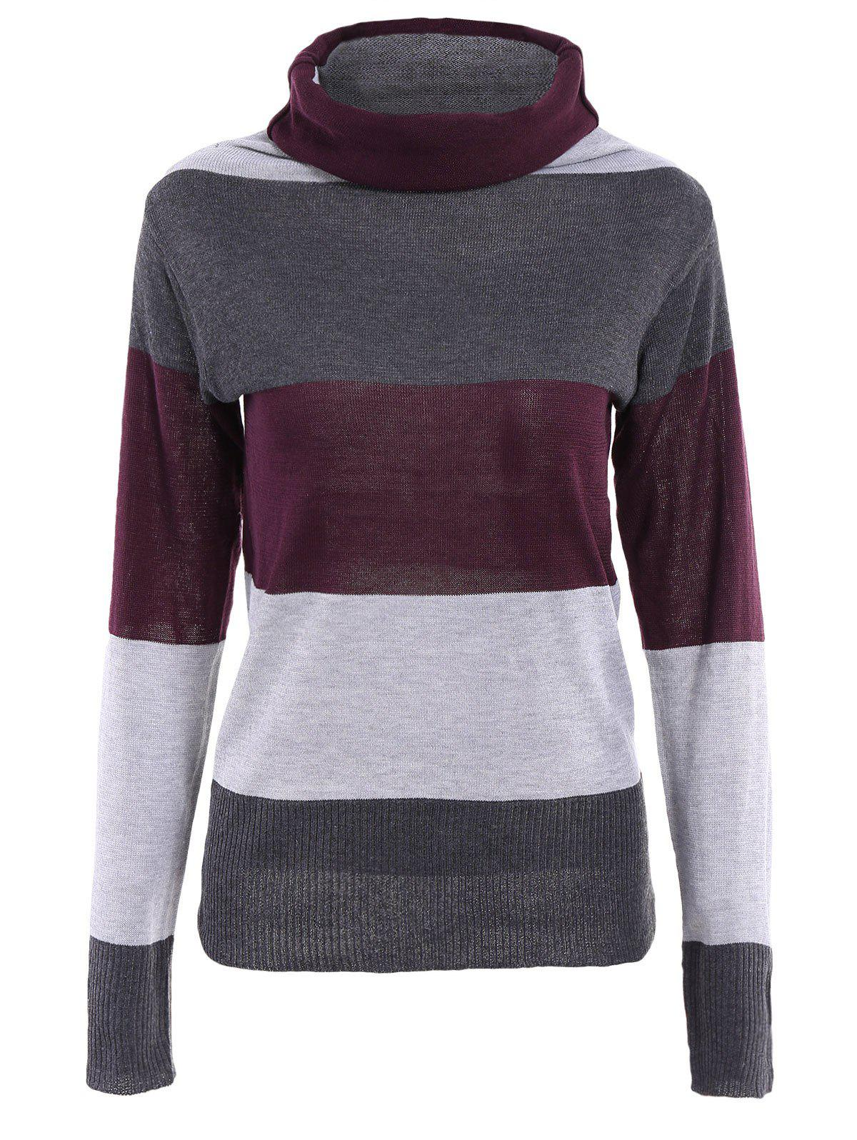 Fashion Color Block Long Sleeves Women's Turtle Neck Sweater - PURPLE ONE SIZE