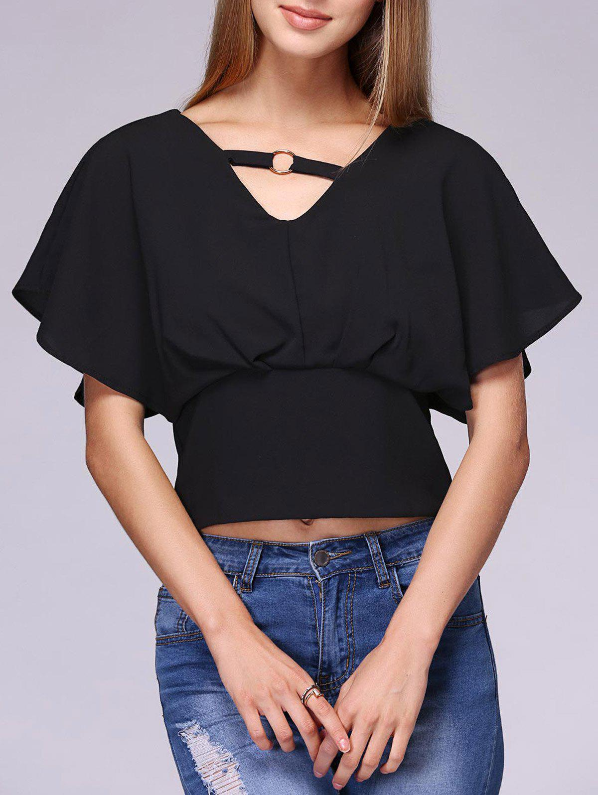 Stylish Women's V-Neck Butterfly Sleeve Top - BLACK ONE SIZE(FIT SIZE XS TO M)