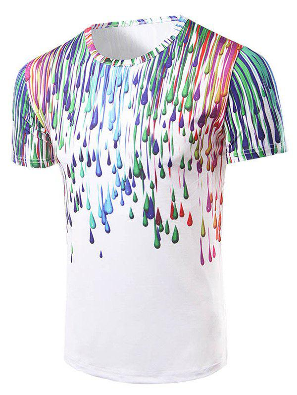 Men's Fashion Round Collar 3D Painting T-Shirt - COLORFUL 2XL
