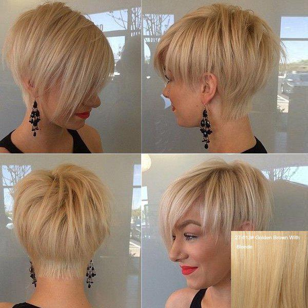 Fashion Women's Short Fluffy Side Bang Human Hair Wig - GOLDEN BROWN/BLONDE