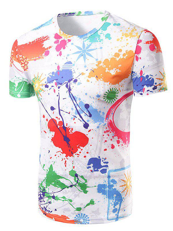 Men's Fashion Round Collar Colorful Painting T-Shirt - 2XL COLORFUL