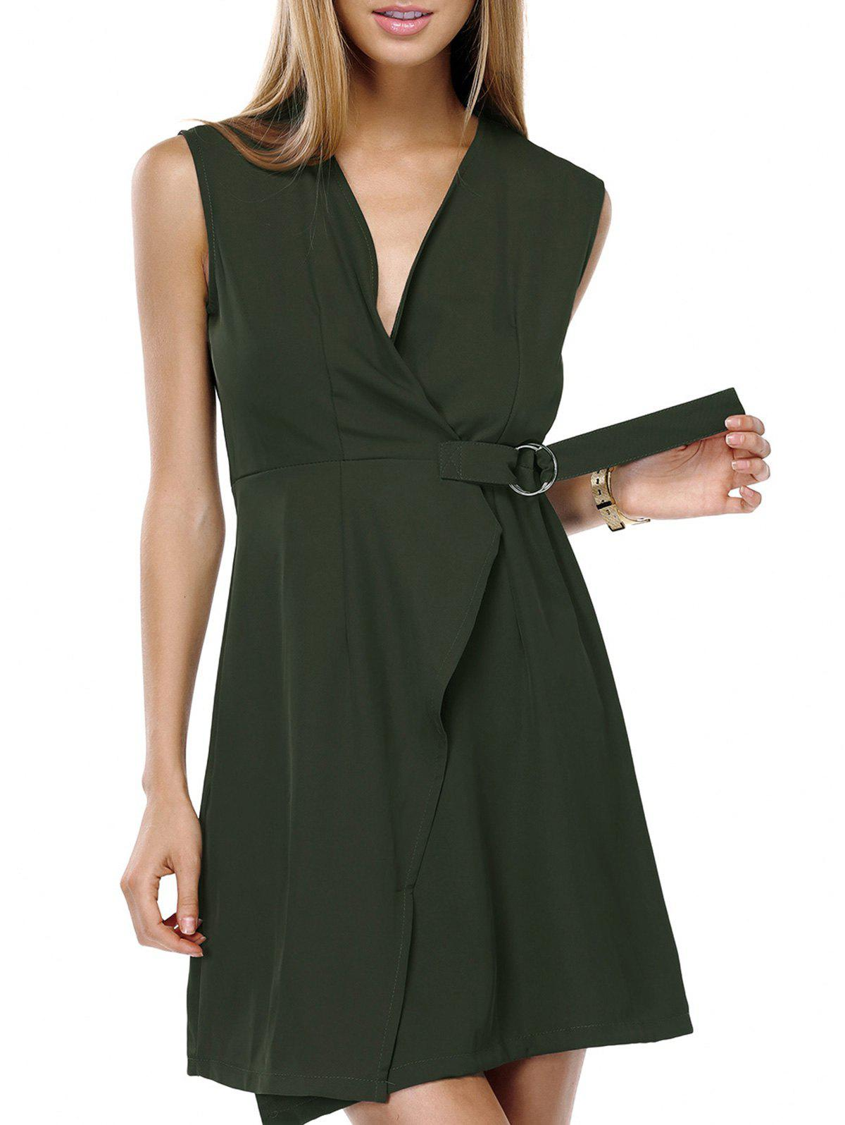 Stylish Women's V-Neck Solid Color Wrap Dress - ARMY GREEN M