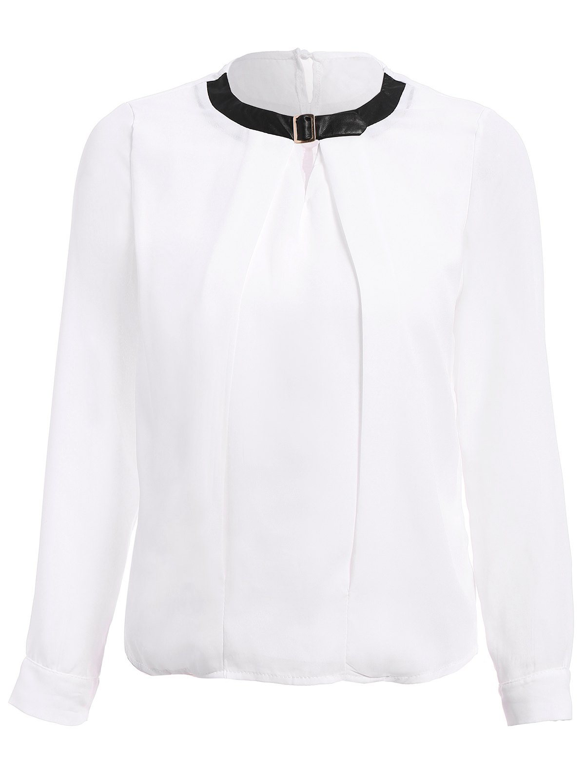 Stylish PU Collar Long Sleeve Women's Hollow Out Blouse - WHITE M