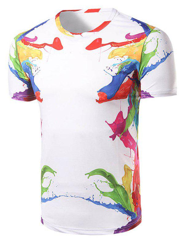 Men's Fashion Round Collar Colorful Printing T-Shirt - WHITE L