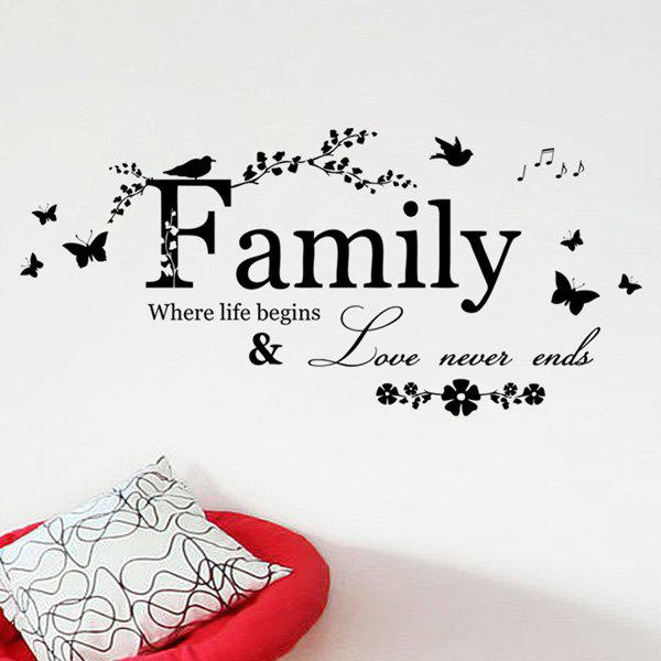 Simple Removable Family Butterfly Wall Art Sticker - BLACK