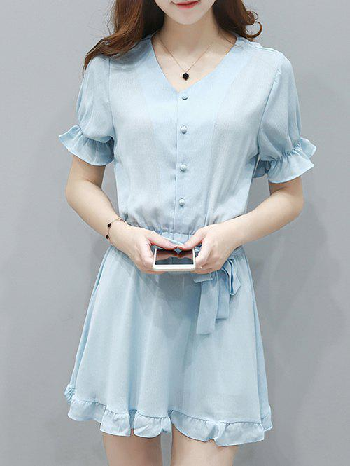 Ladylike Button Up Bowknot Belted Flounce Hem Wowen's Dress