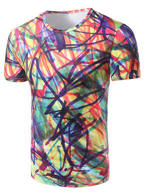 Men's Fashion Round Collar Colorful Graffiti T-Shirt - COLORFUL 2XL