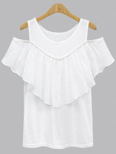 Plus Size Hollow Out Short Sleeve Flounced Blouse - WHITE XL