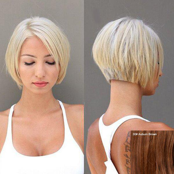 Fashion Women's Short Bob Style Side Parting Human Hair Wig -  AUBURN BROWN