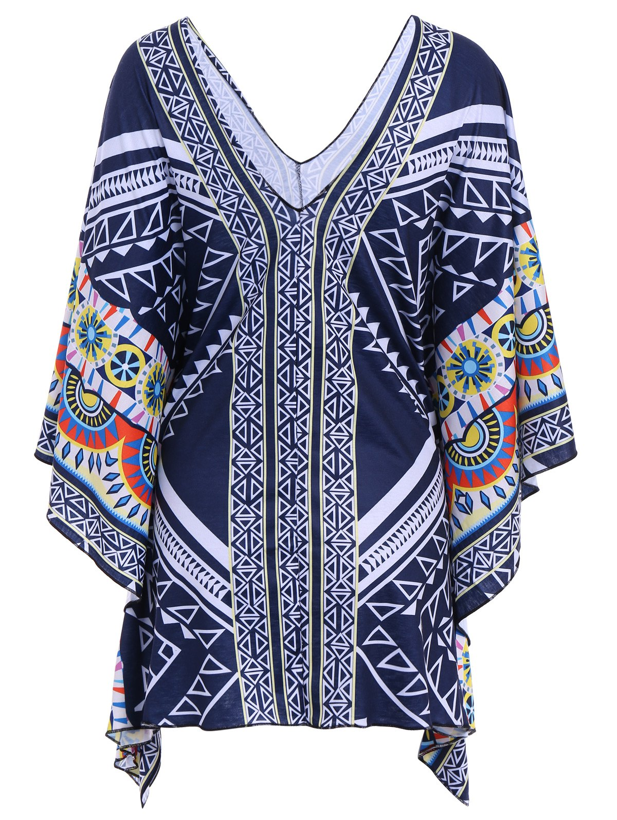 Ethnic Style Printed Collarless 3/4 Sleeve Kimono Blouse For Women - COLORMIX S