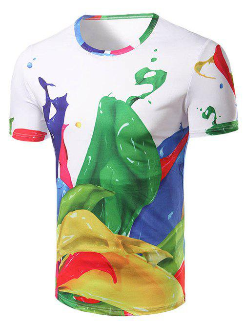 Men's Fashion Round Collar Color Printing T-Shirt - COLORMIX 2XL