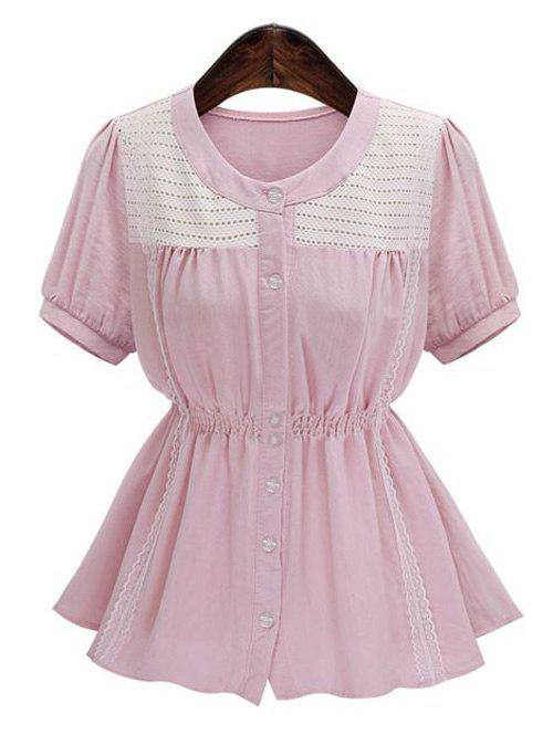 Plus Size Short Sleeve Spliced Buttoned Women's Blouse - PINK 3XL